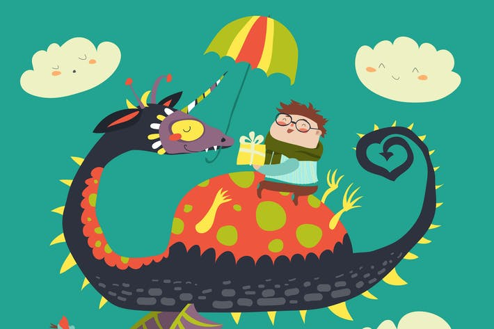 Thumbnail for Little boy sitting on the dragon. Vector