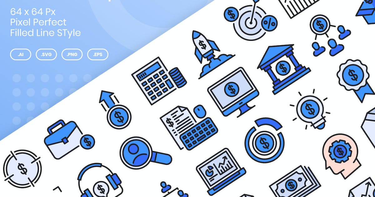 Download 40 Business Startup Icons Set - Filled Line by kmgdesignid