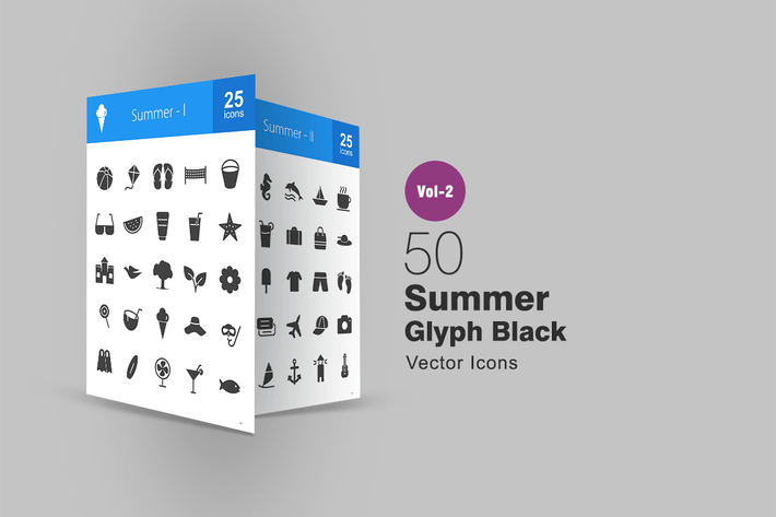 Thumbnail for 50 Summer Glyph Icons