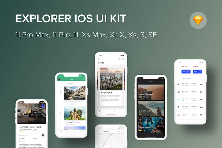 Thumbnail for Explorer iOS UI Kit (Sketch)