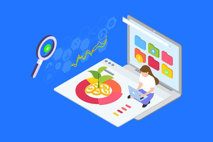 Thumbnail for Diversify Investment Isometric Illustration - TU