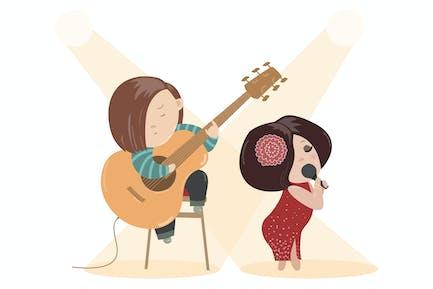 Schöne Frau singen mit einem Mikrofon