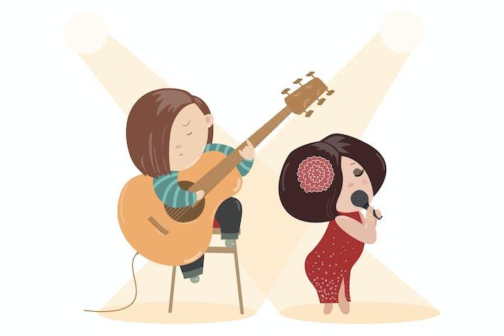Thumbnail for Schöne Frau singen mit einem Mikrofon