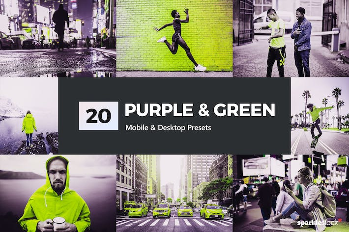Thumbnail for 20 Purple & Green Lightroom Presets and LUTs