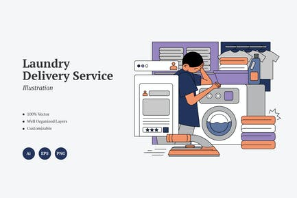 Laundry Delivery Service Graphics Illustration
