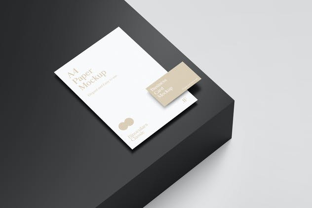 A4 Paper Mockup and Business Card Mockup