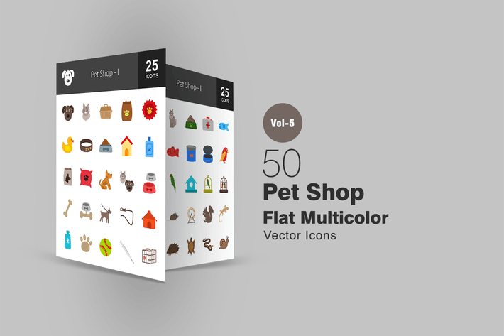 Thumbnail for 50 Pet Shop Flat Multicolor Icons