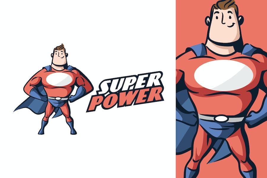 Cartoon Retro Vintage Superhero Mascot Logo