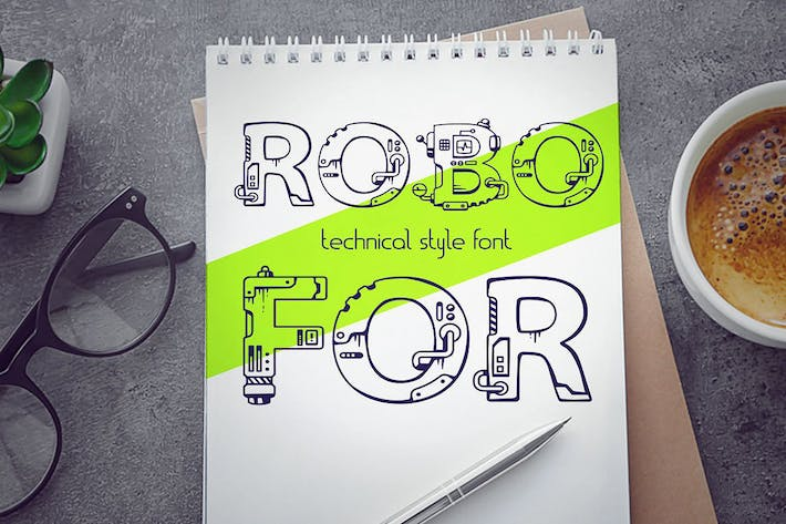Thumbnail for Robofor_mechanical engineering font