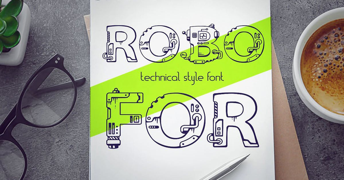 Robofor_mechanical engineering font by wowomnom