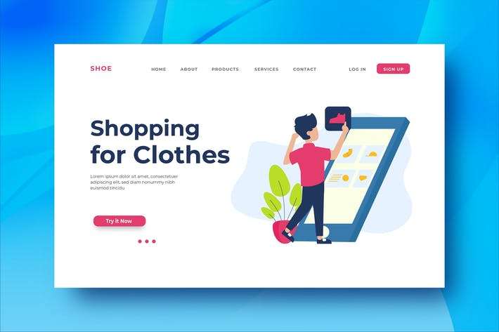Shopping for Clothes Landing Page Illustration
