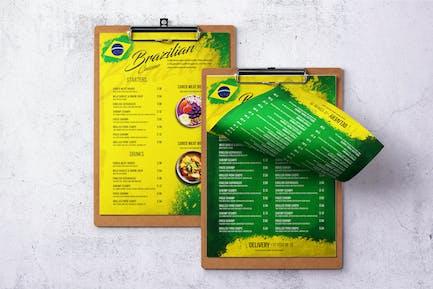 Brazilian Cuisine A4 & US Letter Single Page Menu