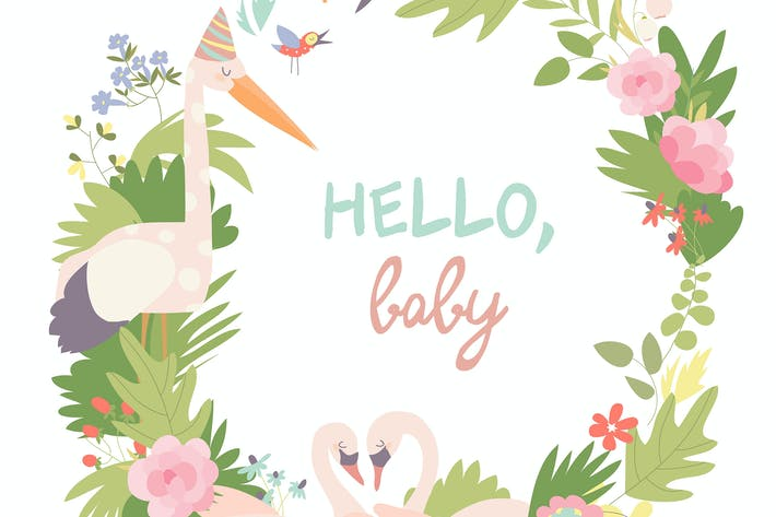 Thumbnail for Infantile Style Baby Shower Vector Illustration.