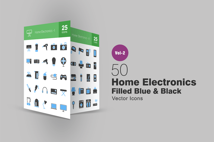 Thumbnail for 50 Home Electronics Blue & Black Icons