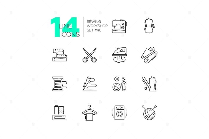 Thumbnail for Sewing workshop - set of line design style icons