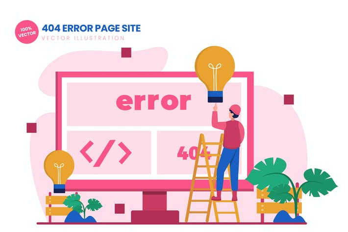Thumbnail for Web Error 404 Flat Vector Illustration