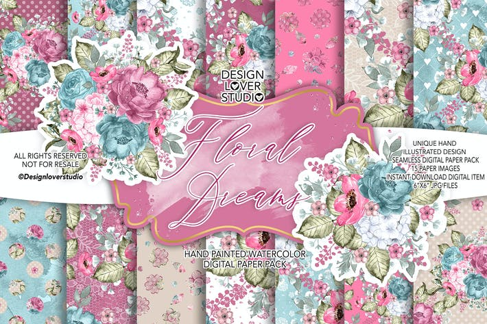 Thumbnail for Floral Dreams digital paper pack