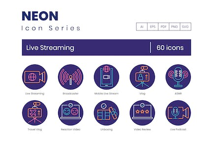 60 Live Streaming Icons