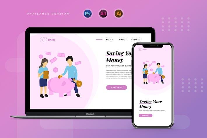 Thumbnail for Piggy Bank Saving Money - Banner & Landing Page