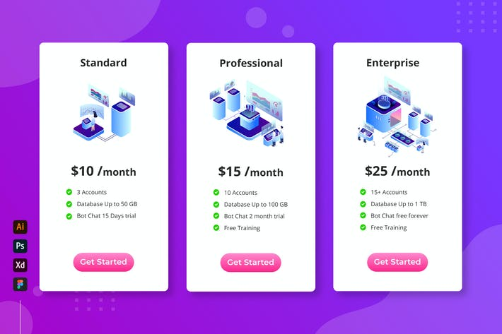 Thumbnail for Cloud Database - Isometric Pricing Table