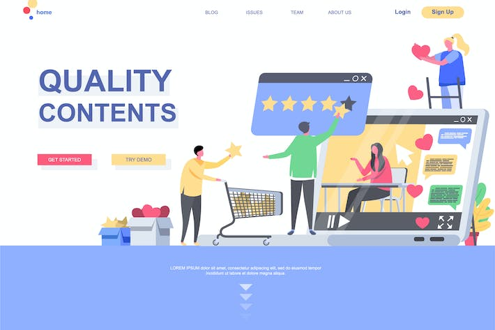 Thumbnail for Quality Contents Landing Page Template