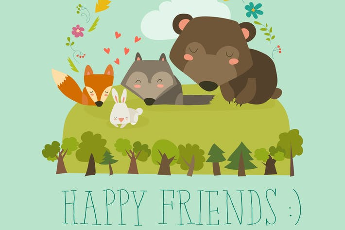 Thumbnail for Happy friends in the forest. Bear,fox,rabbit wolf