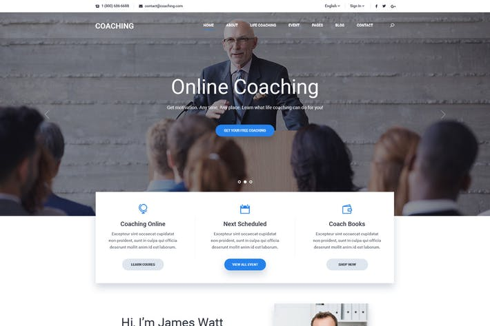 Thumbnail for Coaching | Speaker & Life Coach, Health Coach HTML