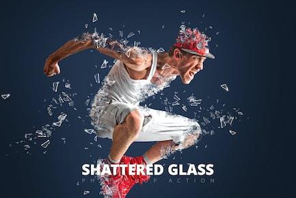Acción de Photoshop de cristal destrozado