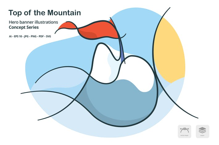 Thumbnail for Top of the Mountain Vector Illustration