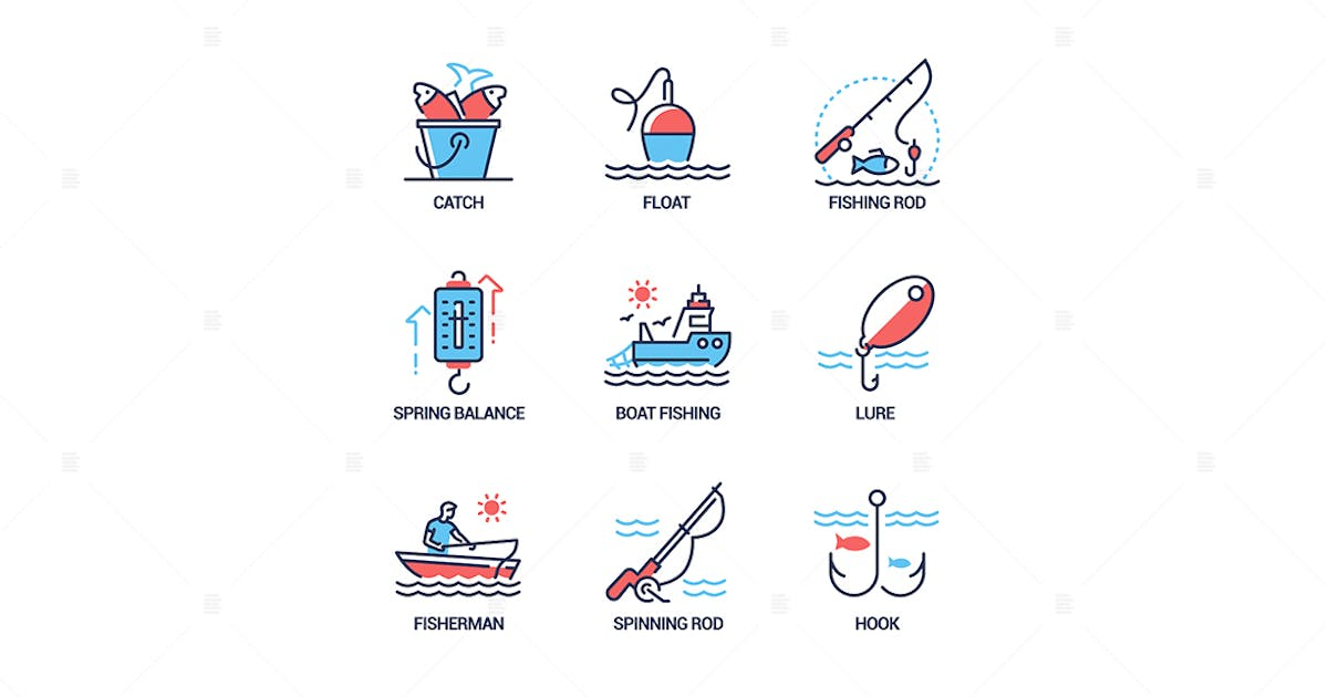 Download Fishing - modern line design style icons set by BoykoPictures