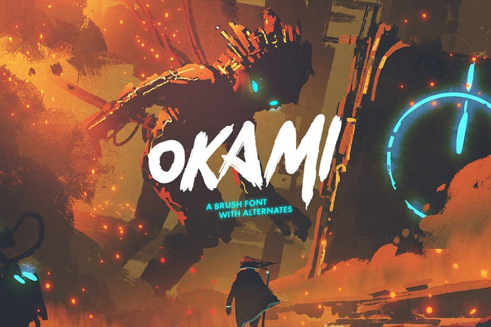 Thumbnail for Okami - Brush Font