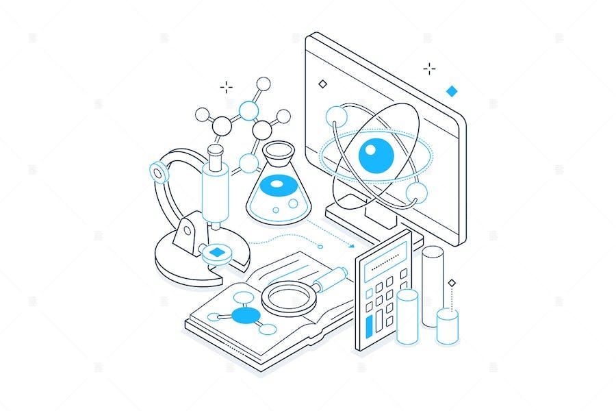 Science and Medicine - Isometric Illustration