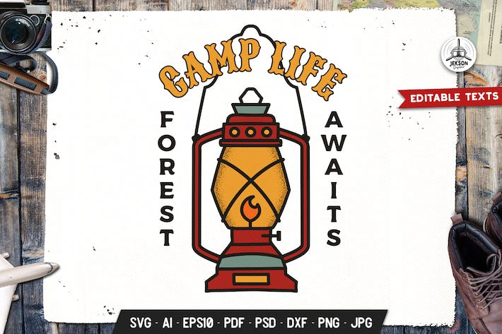 Thumbnail for Camp Life Badge, Vector Adventure Retro Graphic