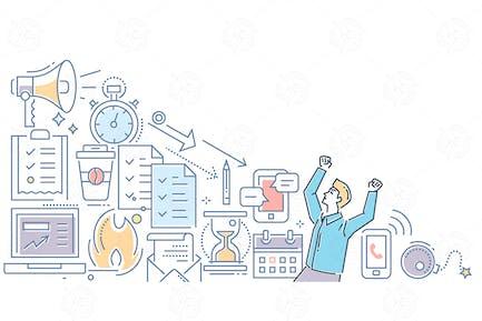 Estrés en Trabajo: ilustración de estilo de Diseño de línea