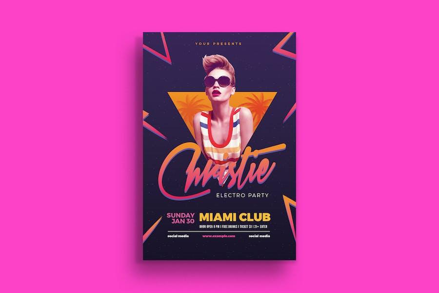 Electro 80's DJ Party Flyer