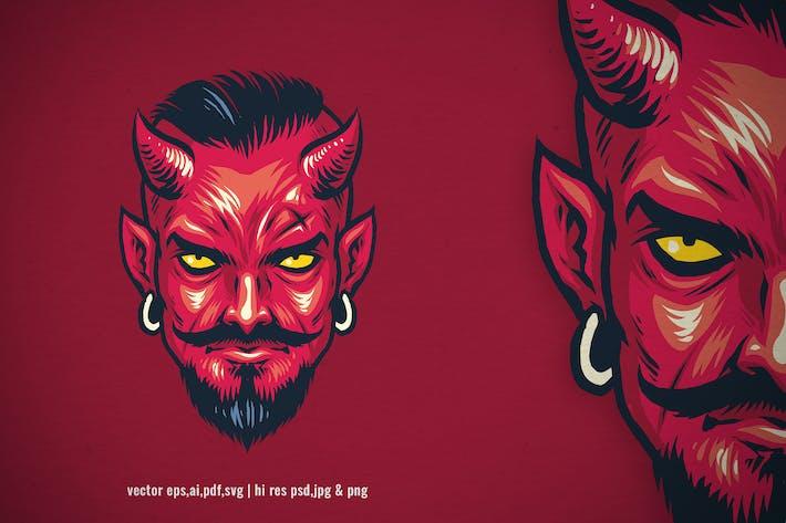 vintage hand drawn style of devil head
