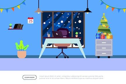 Ilustración de la oficina con decoración de Navidad