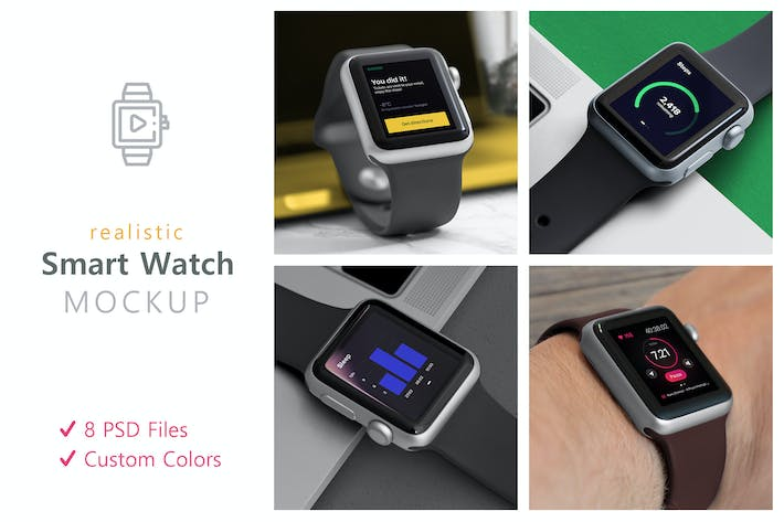 Thumbnail for Realistic Smart Watch Mockups
