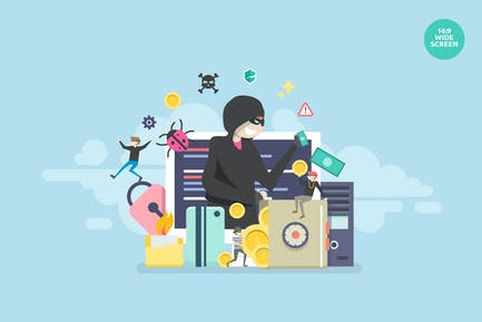 Cyber Hacking Security Vector Concept Illustration