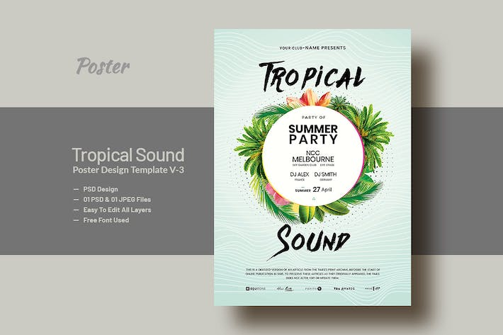 Thumbnail for Summer & Tropical Sound Party Poster & Flyer V-3
