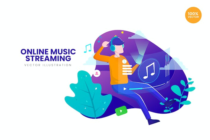 Thumbnail for Online Music Streaming Vector Illustration Concept
