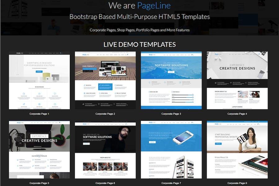 PageLine - многоцелевой HTML5 Tem на основе начальной загрузки