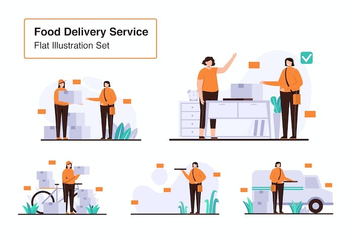 Thumbnail for Food Delivery Service Vector Set Flat Illustration