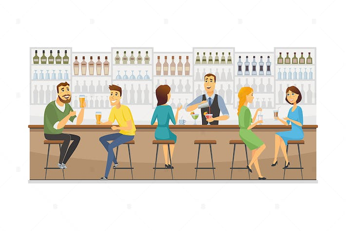 Thumbnail for Bartender at work - vector illustration
