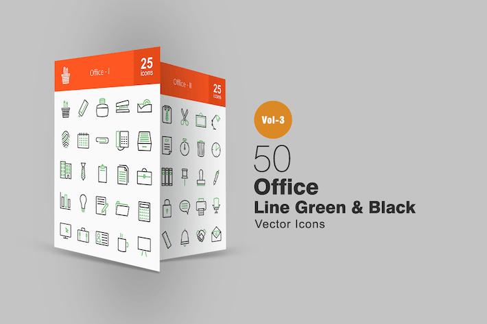 Thumbnail for 50 Íconos de Office Line verde y negro