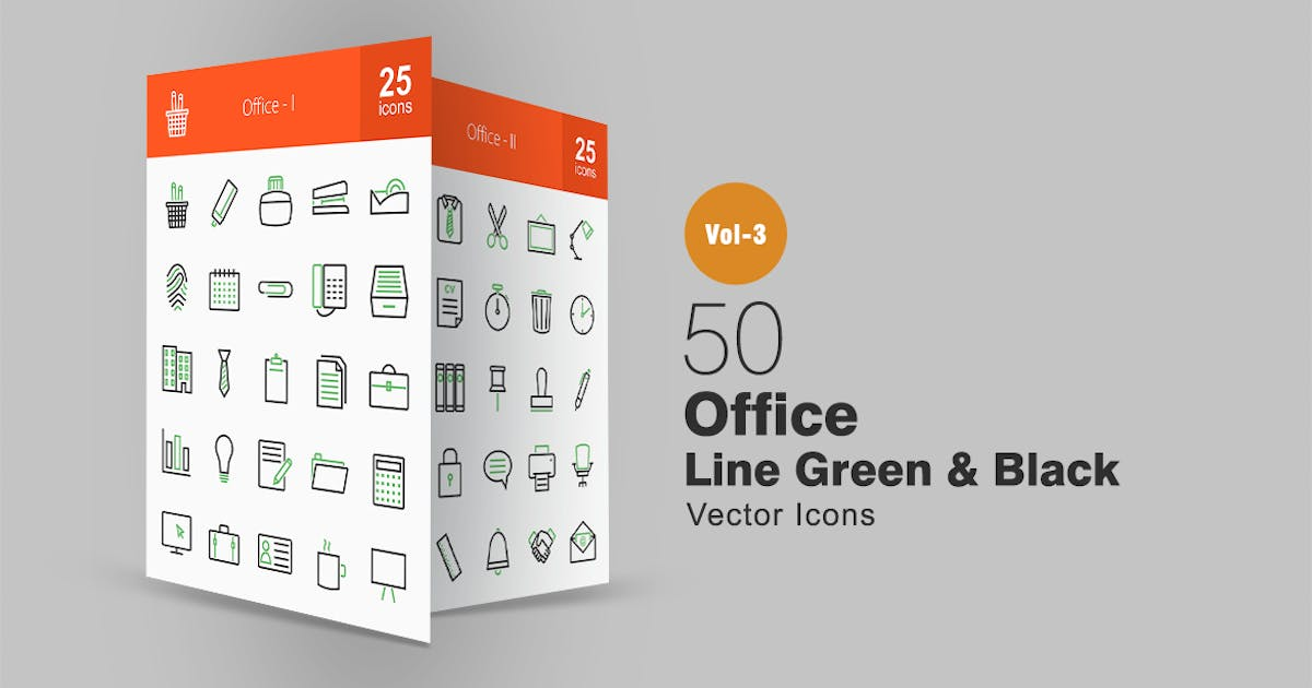 Download 50 Office Line Green & Black Icons by IconBunny