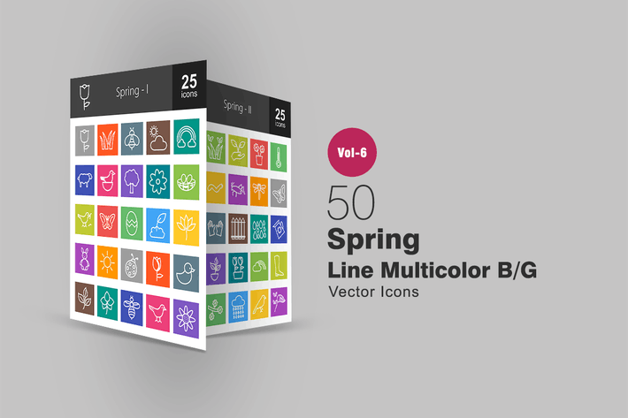 Thumbnail for 50 Spring Line Multicolor B/G Icons