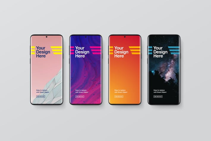 Thumbnail for Black Smartphone Mockups - Top View