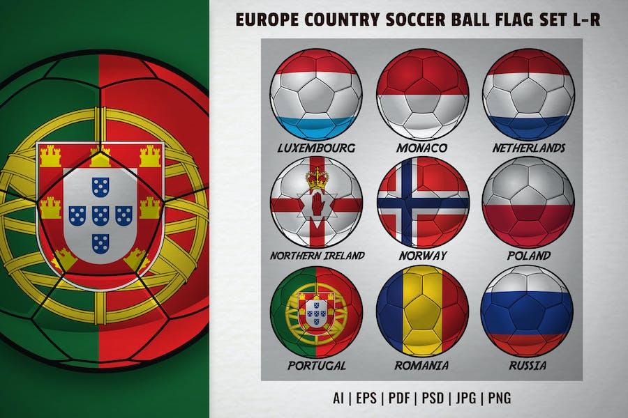 Europe country soccer ball flag set L-R