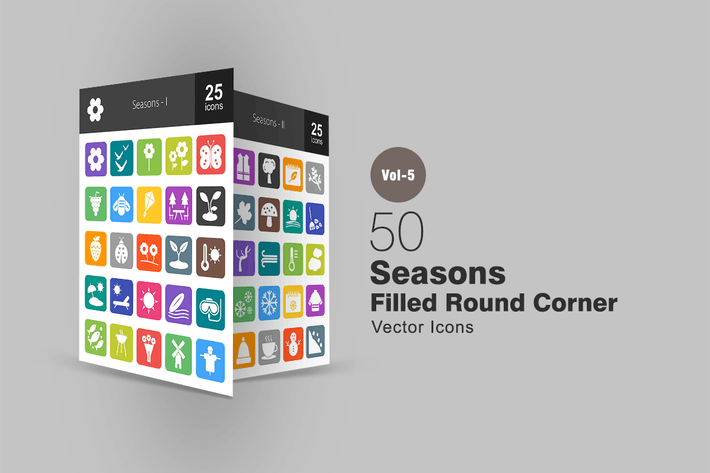 Thumbnail for 50 Seasons Flat Round Corner Icons